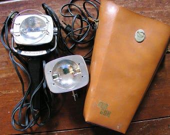 2 Sylvania Sun Gun Halogen Movie Lights and Original Case