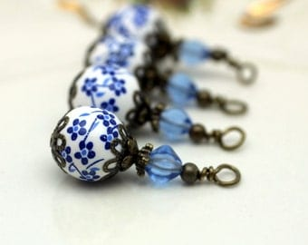 Vintage Style White and Blue Floral Porcelain Bead Dangle Charm Drop Pendant, Jewelry Making, Add A Dangle