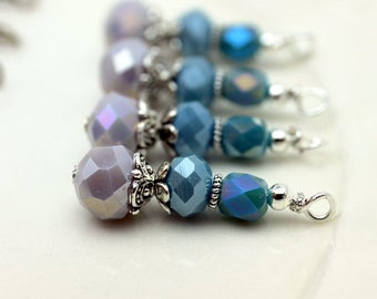 Gray and Dusty Blue Crystal Bead Dangle, Earring Dangle, Necklace Pendant