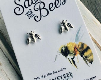 FREE SHIP. Save the bees. 20% of profits donated to The Honeybee Conservancy. 14k Gold or Sterling Silver Plated Bee Earrings. Post Stud