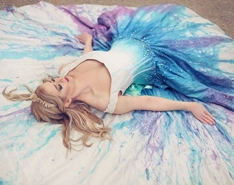 Galaxy Gown - Splatter Paint Ombre Wedding Dress - Starry Night Fairytale Gown - Space Sky Silk and Crystals -Custom to your size