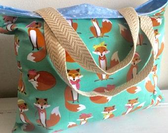 Fox bag, fox diaper bag, fox tote, Fox, bag, tote, beach bag, extra large tote, extra large bag, reversible tote, reversible bag, Blue, pink