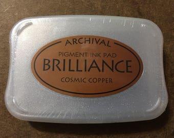 Tsukineko Archival Brilliance Pearlescence Cosmic Copper Pigment Ink Pad