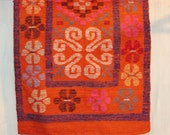 vintage wool area rug - handmade floral flat weave rug or wall hanging - boho textile wall decor