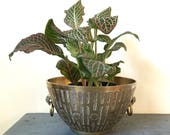 vintage brass bowl - incised brass planter with handles - gold metal dish