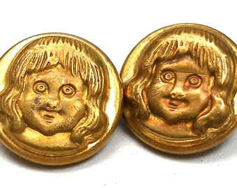 "Buster Brown BUTTONs, Pair of antique Edwardian boys, vintage advertising, 1/2""."