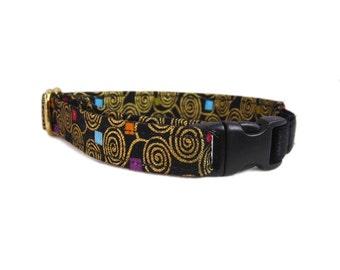 Black Cat Collar with Elastic - Fancy Cat Collar - Gold Cat Collar - Stay On Cat Collar - Safety Cat Collar - Non Breakaway Cat Collar