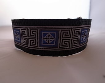 """1.5"""" Wide Greek Key House/Martingale Collar - IG/Whippet/Greyhound/Sighthound/All Breeds"""