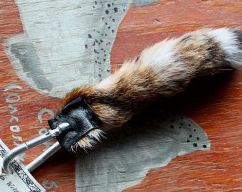 Bobcat tail - real eco-friendly natural bobcat fur totem tail on carabiner keychain purse charm for shamanic ritual and dance LB02