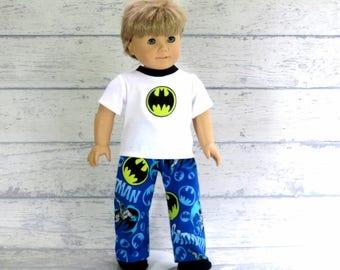 American Boy Doll Comic Book Hero PJs, 18 inch Doll Clothes Summer Pajamas