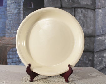 """Oven Serve Pie plate by Homer Laughlin cream colored raised floral flower design serving plate Large 10 3/4"""" X 1 1/2"""""""