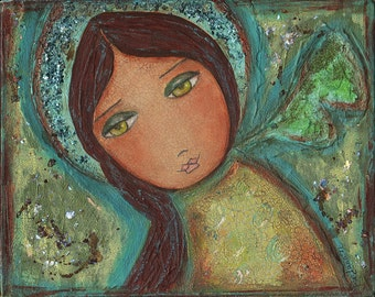 Angel in Green -  Giclee print mounted on Wood (4 x 5 inches) Folk Art  by FLOR LARIOS