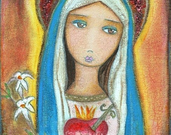 Sacred Heart Mary -   Giclee print mounted on Wood (4 x 4 inches) Folk Art  by FLOR LARIOS
