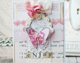 Enjoy Shabby Chic Handmade Card -Greeting Card - Card -Handmade - Cards - Handmade Card -Butterfly Card