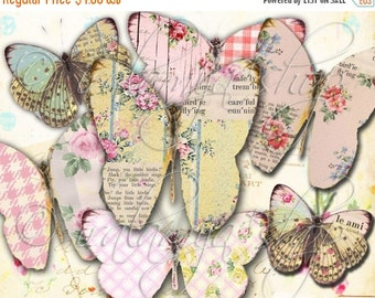 SALE Printable Download BUTTERFLIES No. 3 Printable Digital Images - Shabby BUTTERFLIES Digital Collage Sheet - Vintage Paper Scrapbook