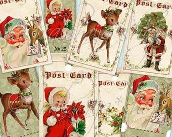 SALE CHRISTMAS CAROL collage Digital Images  -printable download file- Christmas Tags