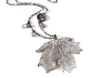 Silver Leaf Necklace, Moon, Winter Frost, Maple Leaf, Metal, Pearl, Gemstone, Moonstone, Labradorite, Topaz, Sterling Silver, Real Leaf