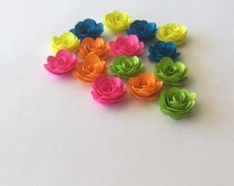 15 Neon rolled paper flowers, decoration, scrapbook decoration, table decoration, rosette, small flower, embellishment
