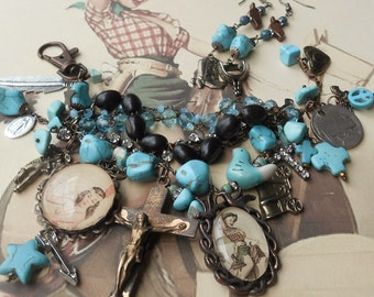 I'm An Indian Outlaw Turquoise Vintage Cowboy & Native American Charm bracelet