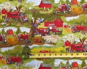 Farmall Tractors International Harvester Children Scenic BY YARDS Cotton Fabric