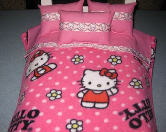 5 Piece Fits American Girl Bedding Hello Kitty 3 Pillows And Bedspread Top Sheet Pink And Red