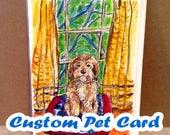 Custom Pet Card, Custom Dog Portrait, Custom Cat Portrait, Watercolor Art, Handpainted Cards, Hand Painted Cards, Pet Portrait, Paint My Dog