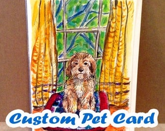 Custom Pet Card, Dog Portrait, Cat Portrait, Original Watercolor Artwork, Handpainted Cards, Cat Lovers Gifts, Pet Portrait, Paint My Dog,
