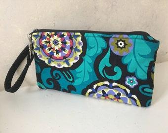 Handmade Wristlet Clutch, Teal Floral Design