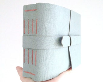 Leather Memory Book: Duck Egg and Coral. Engagement gift, wedding planner, new baby. Photo album or scrapbook hand made in finest leather.