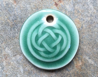 Green Ceramic Celtic Circle Pendant