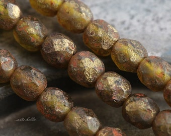 GOLDEN OLIVES No. 2 .. 25 Premium Stone Picasso Czech Glass Beads 6mm (5627-st)