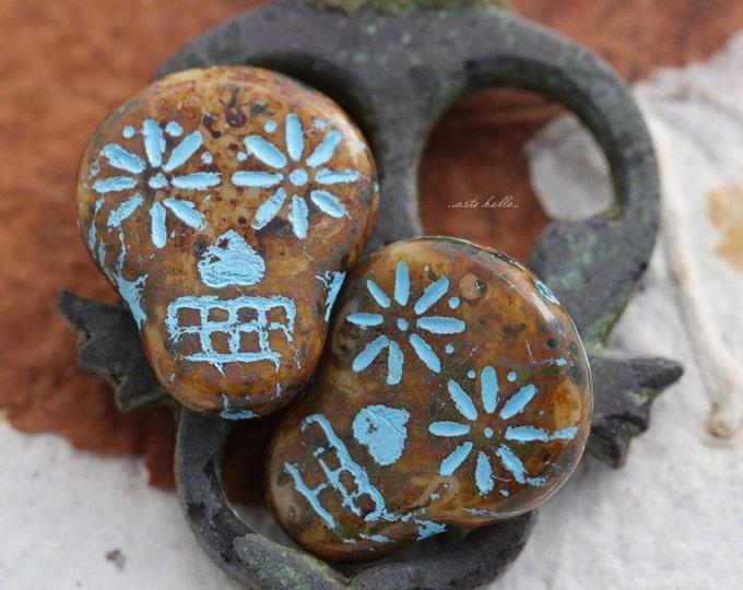 CARAMEL SKULLS .. 2 Picasso Czech Sugar Skull Beads 20x17mm (5524-2)