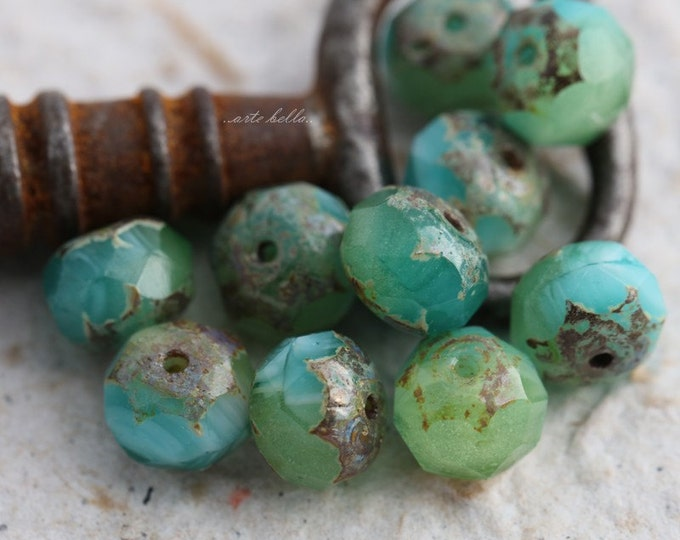 EXOTIC ISLAND .. NEW 10 Premium Picasso Czech Glass Rondelle Beads 6x9mm (5632-10)