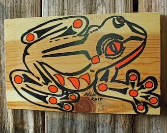 Tree Frog Spirit - amphibian tribal wall art - wood painting - Pacific Northwest Coast Indian inspired - repurposed pine board - OOAK