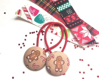 Gingerbread Button Hair Ties, Ponytail, Children's Hair Accessory, Gingerbread man, Child Pontail Holder, Christmas Hair Accessory