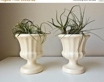 Sale 2 White Haeger Vases Pottery Urn Planters