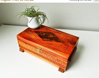 Sale Jewelry Box, Vintage Wood Box, Man Woman Jewelry Box, Keepsake Box