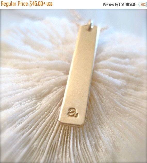 """17% OFF SALE Gold Bar Charm Necklace - """"The Long Bar Initial in Gold"""""""