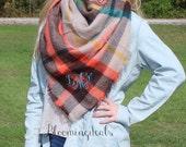 Monogram Oversized Blanket Scarf, Unisex Plaid Tartan, Shoulder Wrap, Winter Shawl, Christmas Gift