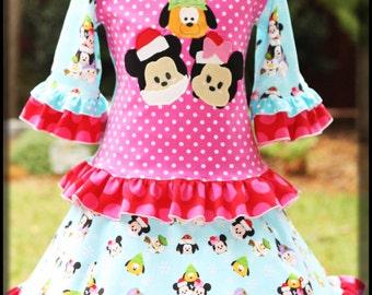 Two Piece Knit Disney Christmas Skirt Set Size 7 8 Ready to Send