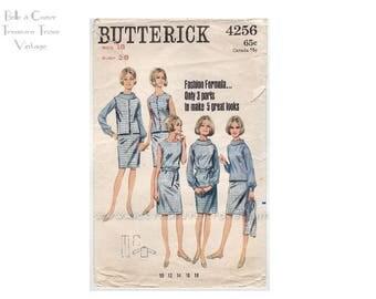 Vintage 1960s Dress Pattern Butterick 4256 Sewing Patterns Bust 38 Blouse Vest Jumper