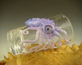 Hand blown Octopus Shot Glass Flameworked Art bartender collectible bar Purple by Eli Mazet (ready to ship)