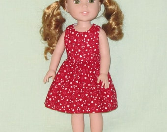 American Girl 14 inch Wellie Wishers Doll Dress White Hearts on Deep Red