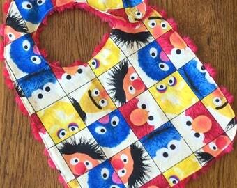 NEW...Sesame Street Minky Baby/Toddler Bib