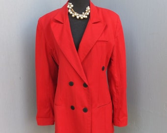 Vintage 1980s Jacket, Carole Little, Red Jacket, Rayon and Nylon Doublebreasted Jacket, size 8