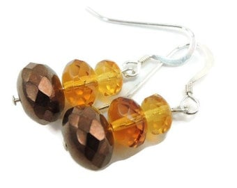 Tri-colored earrings in darker Fall browns and topaz, Autumn Earrings, Sterling Silver Earrings