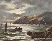 Ridge and gulf and distant ocean gleaming, vintage postcard, antique seascape postcard Tuck's Oilette  The Following Tide