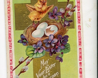 Easter Vintage Postcard,  chicks with eggs in nest, gold cross