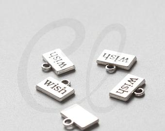 20pcs Oxidized Silver Tone Base Metal Charms-Wish Tag 13x11mm (8121Y-E-219A)