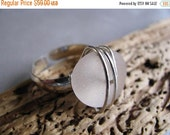 Mothers Day Sale Sterling Silver Sea Glass Ring - Beach Glass Ring - Amethyst Cocktail Ring - Beach Glass - Sea Glass Jewelry